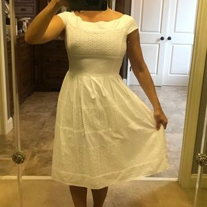 100% cotton fully lined white eyelet midi dress